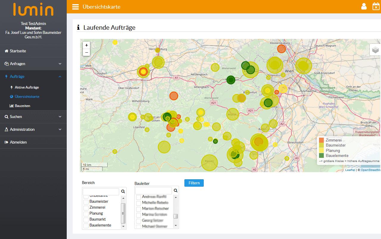 Lumin Visualisierung geografische Baustellenübersicht